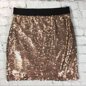 Xhilaration Gold Sequin Mini Skirt Sz S